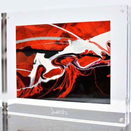 red black and white small canvas painting