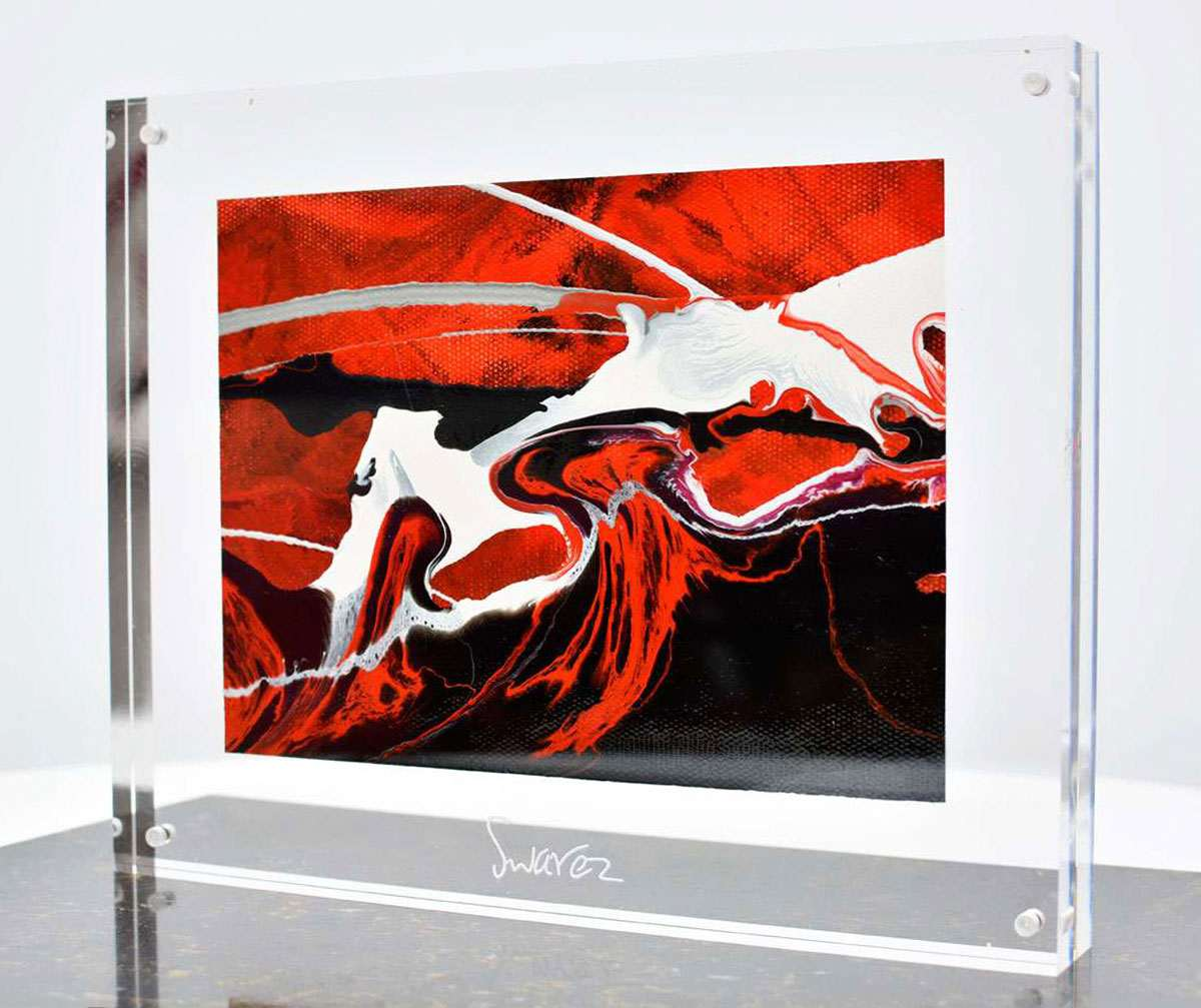 small sized red black and white abstract painting set in an acrylic
