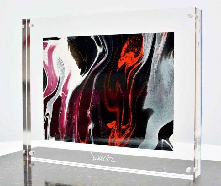 Black fluid painting in an acrylic frame