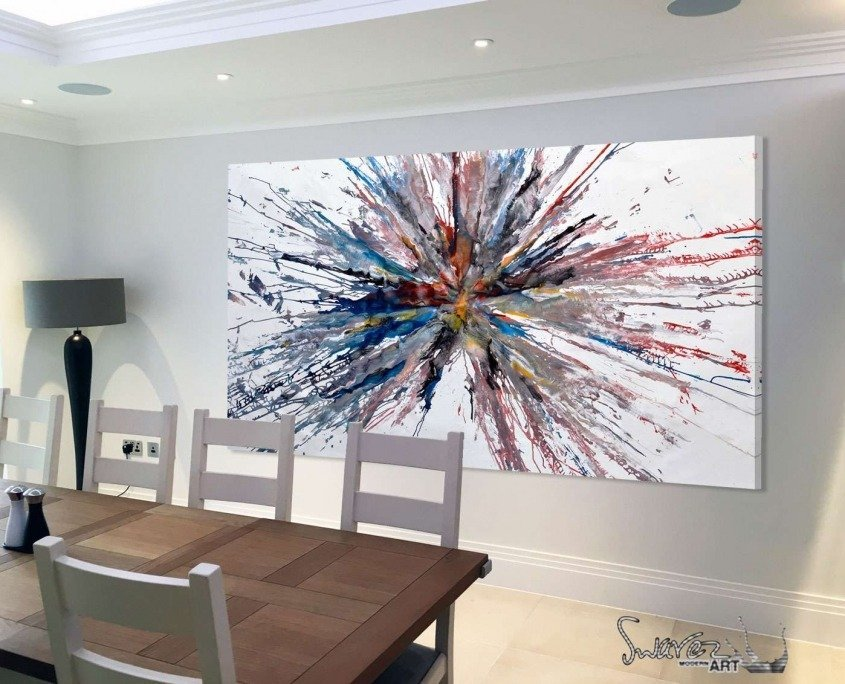 Big exploding painting in a dining room