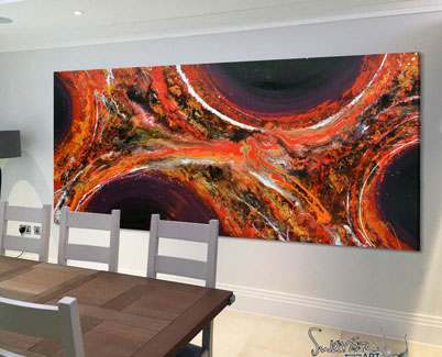 Orange-and-purple-abstract-painting-in-a-dining-room