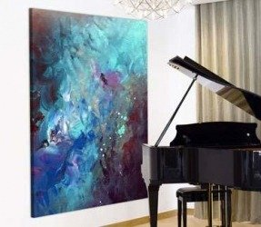Abstract-art-painting-hanging-on-a-wall