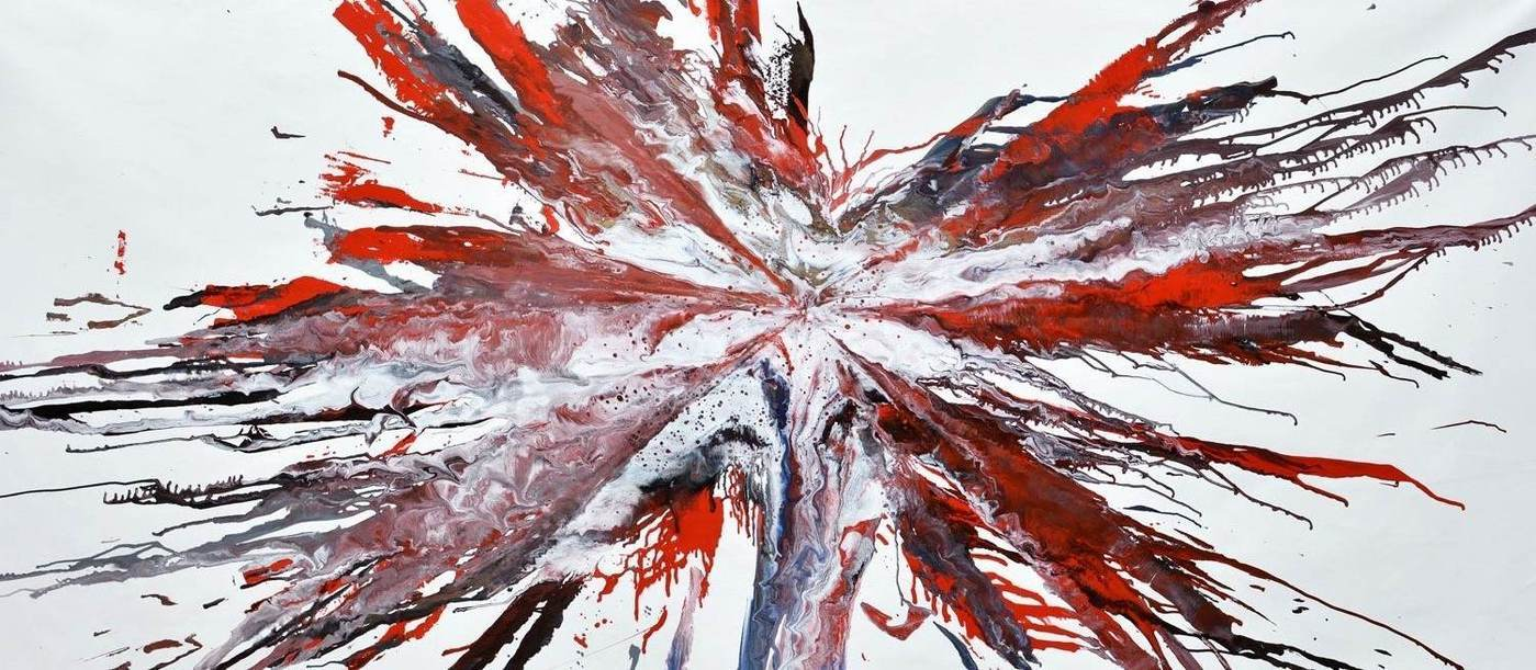 Large red and white original painting