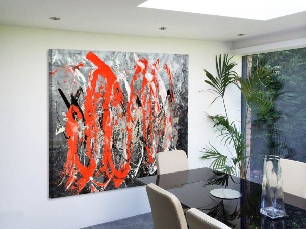 Big red painting in a modern kitchen diner