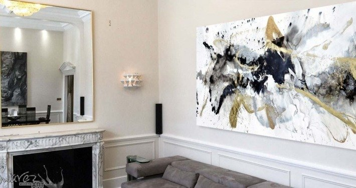 Large black and gold painting in a London apartment