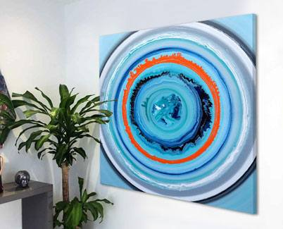 blue and orange art ON A WALL