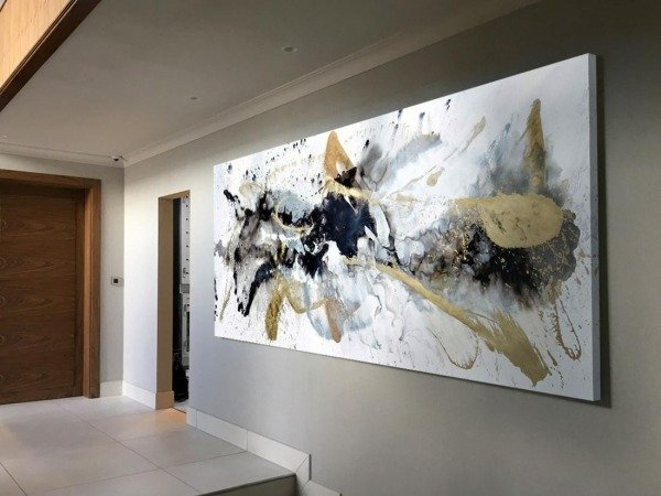 large hallway with big art