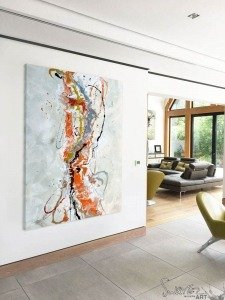 orange abstract art in living space