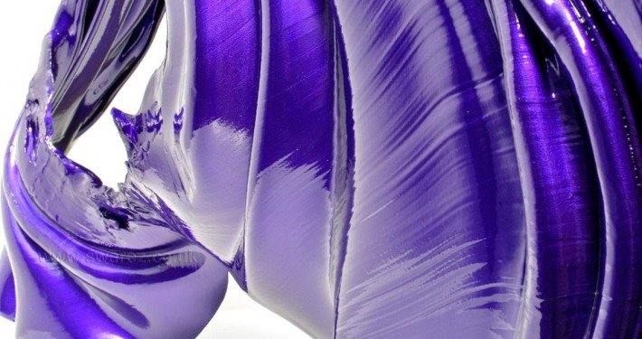 Purple sculpture folded aluminium