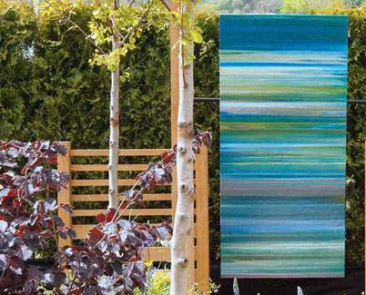 Blue painting at a garden show