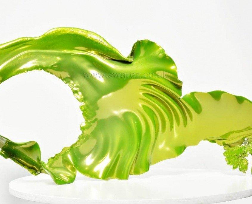 Lime green metal sculpture