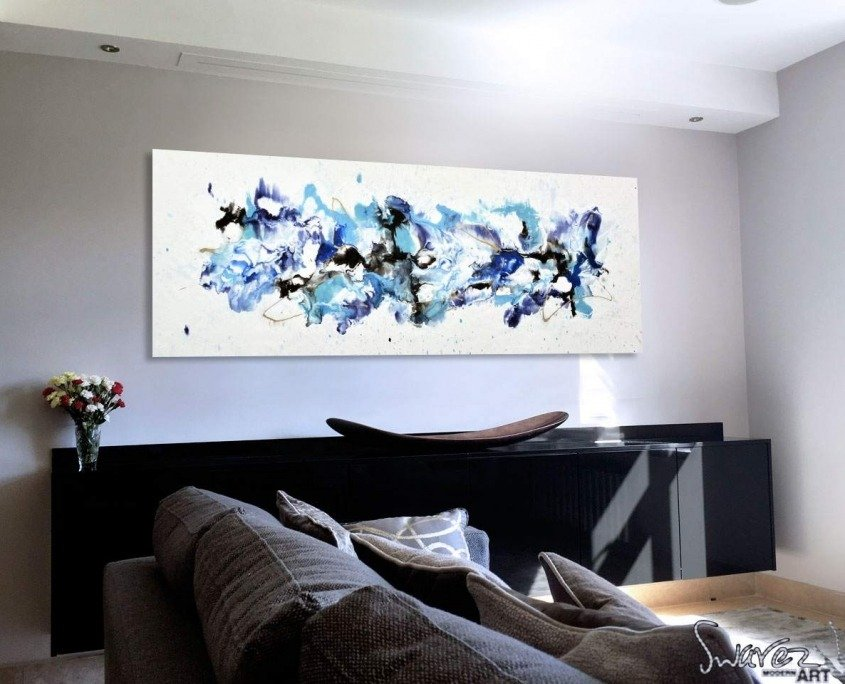 Blue-and-white-abstract-art-in-a-living-room