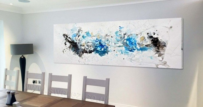 Blue and white art in dining room