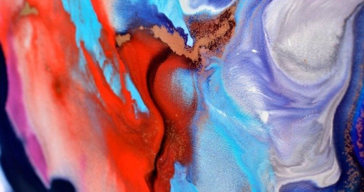 Blue and red paint on canvas