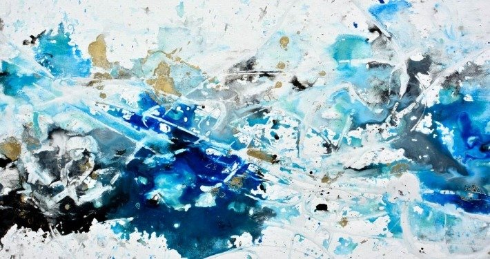 blue and white paints on canvas