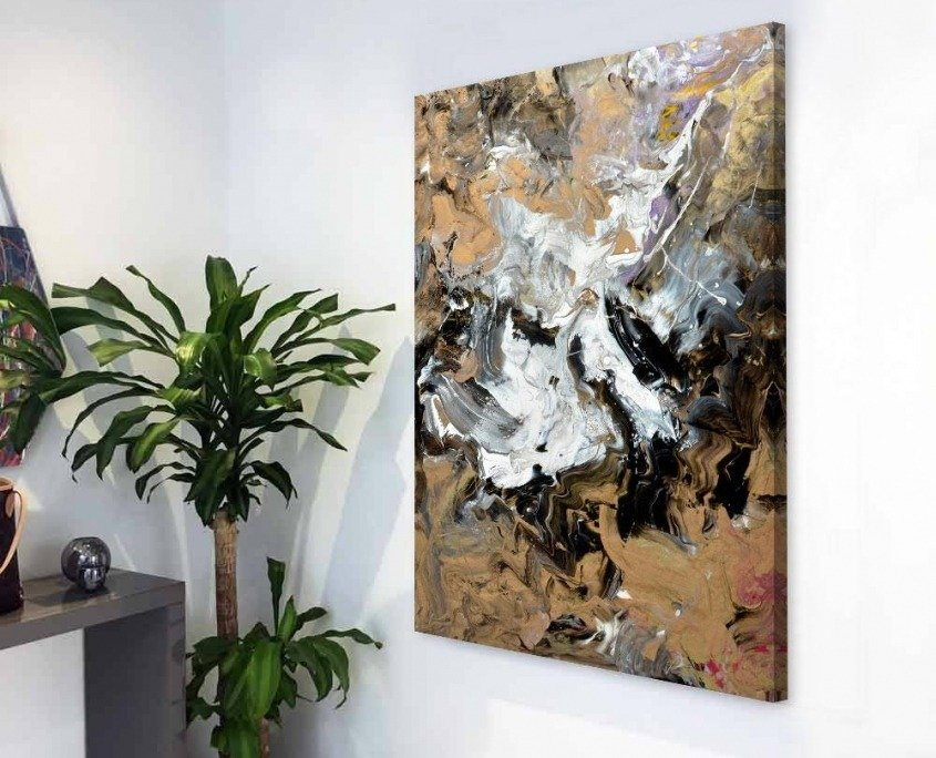 coipper and black small art in hallway