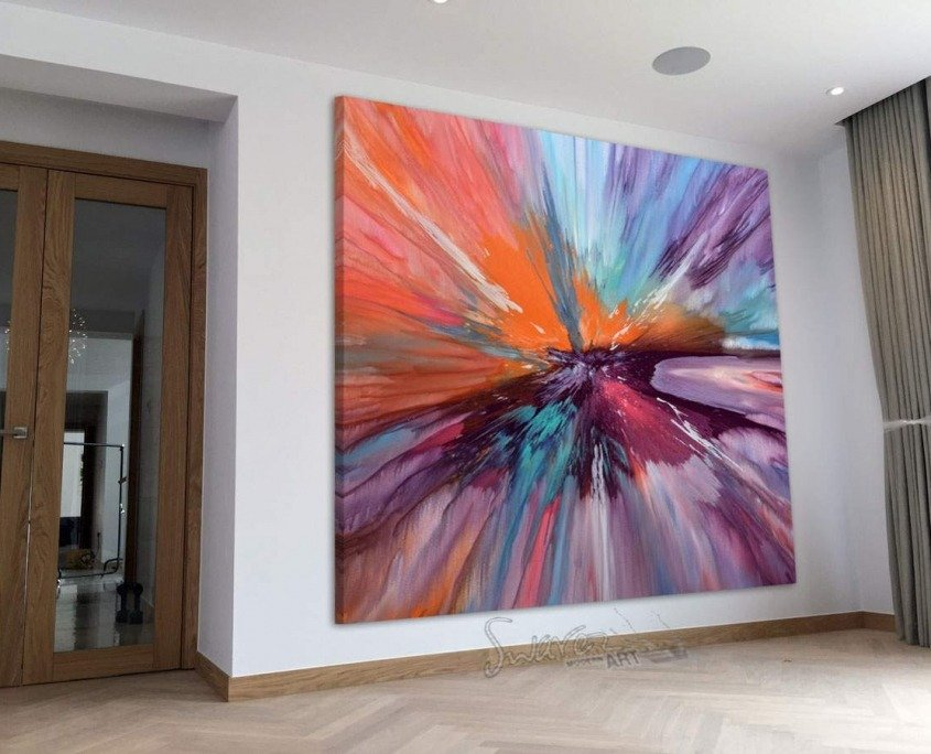 large square painting in open plan space