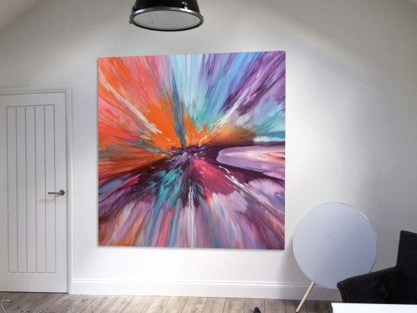 Large square art in open plan space