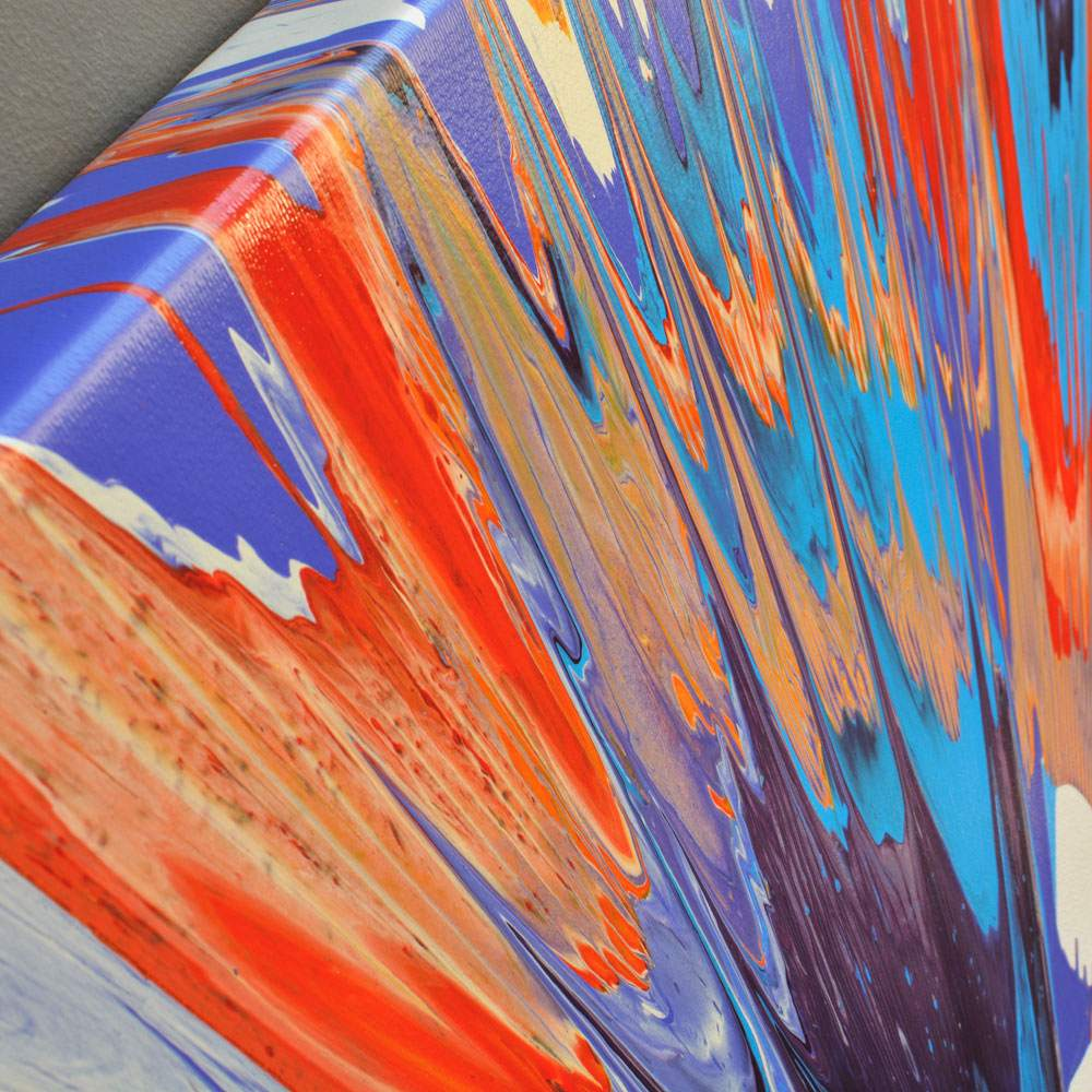 amazing spin painting in blue orange and red called 39 kapow 39 by swarez. Black Bedroom Furniture Sets. Home Design Ideas
