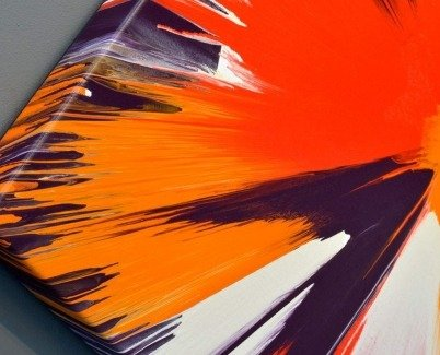 Orange color paint on corner of painting