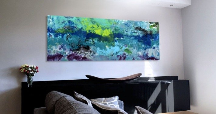 Blue and green-modern-art-in-a-living-room