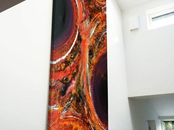 tall painting in double height space
