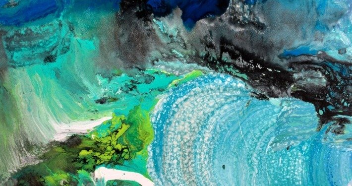 Green and blue paints on canvas