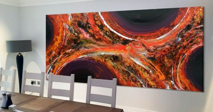 Orange and purple abstract painting in a dining room