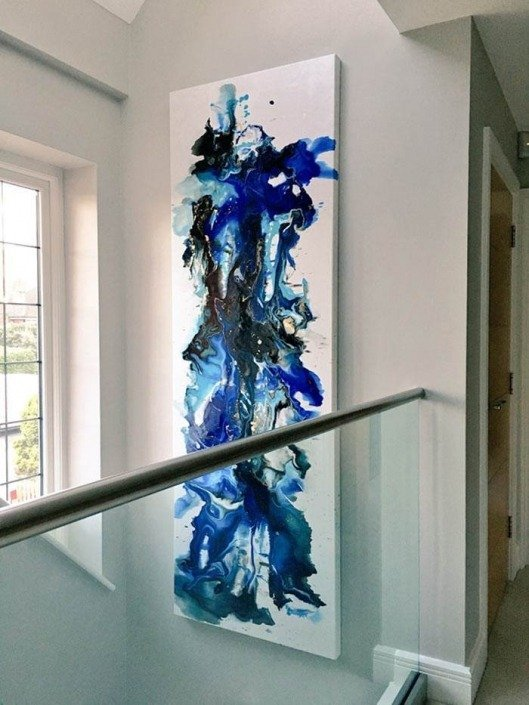 Tall-blue-painting-in-a-stairwell
