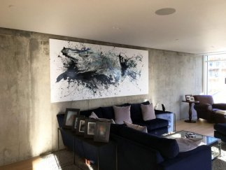 White and black abstract art in a large London penthouse