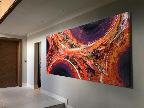 large orange and purple painting