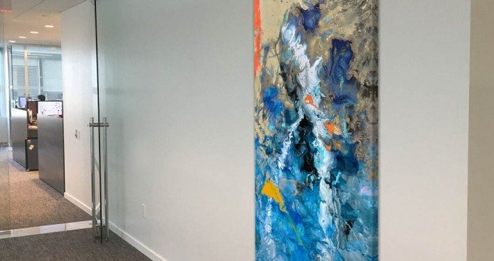 tall painting in an office corridor