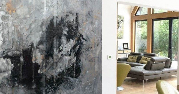 large grey painting with gold