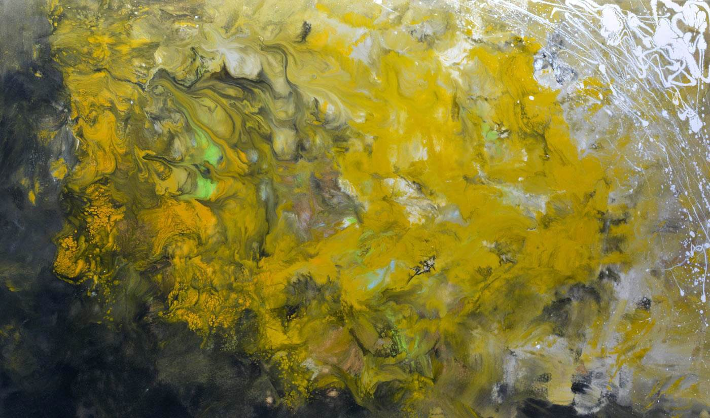 mustard coloured abstract art