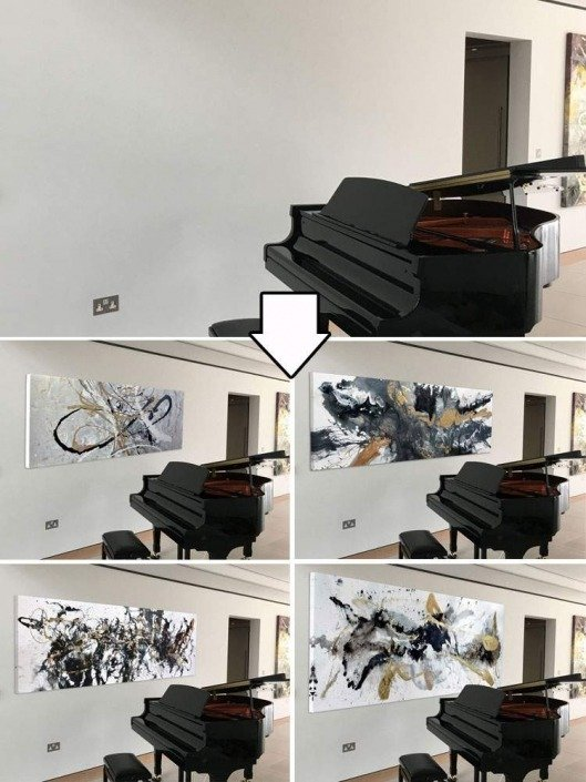 piano and four paintings