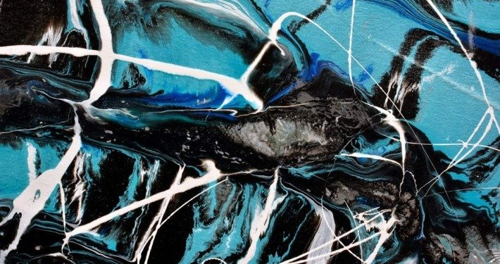 black and turquoise paint swirls
