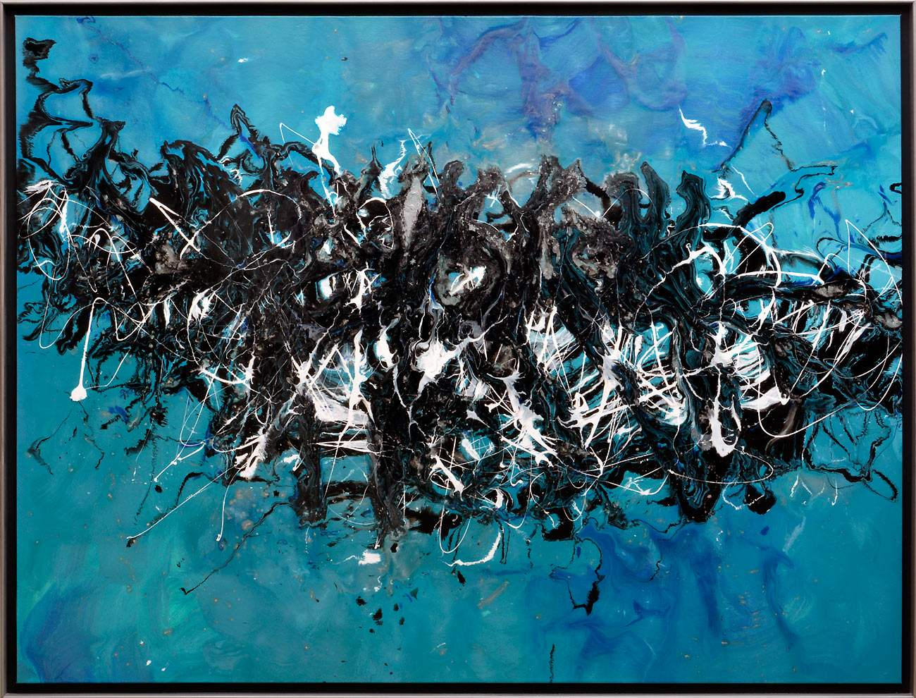 large blue artwork in frame