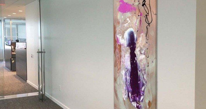 tall art in corridor