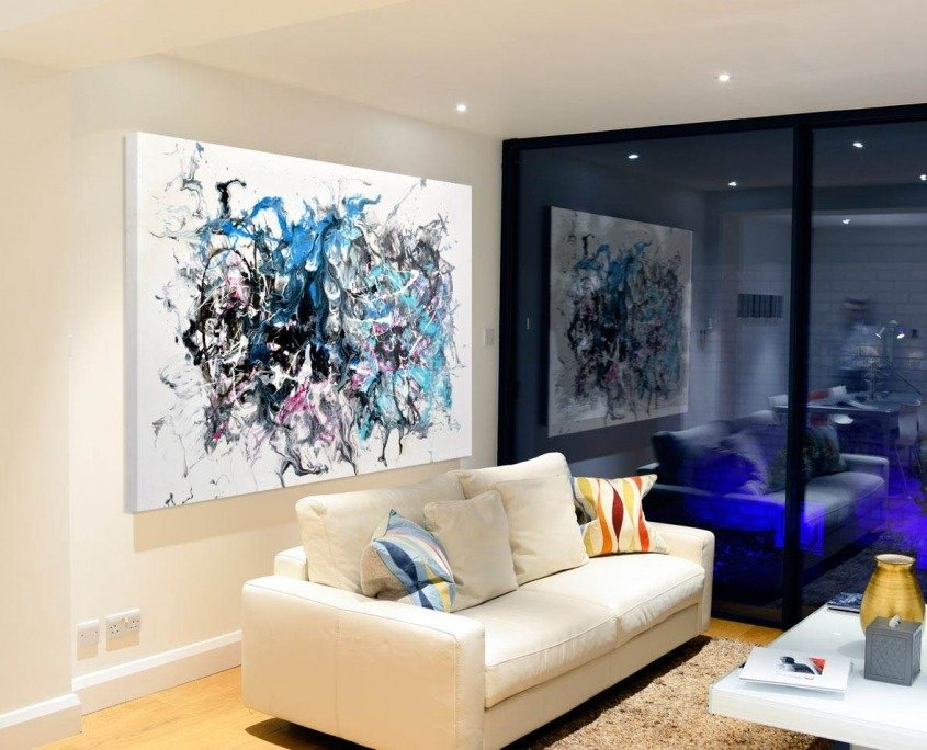 blue and grey painting in living space