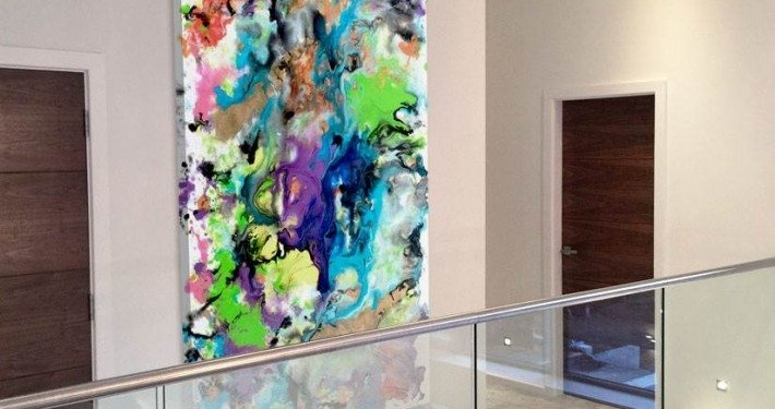 Multi coloured abstract art on landing