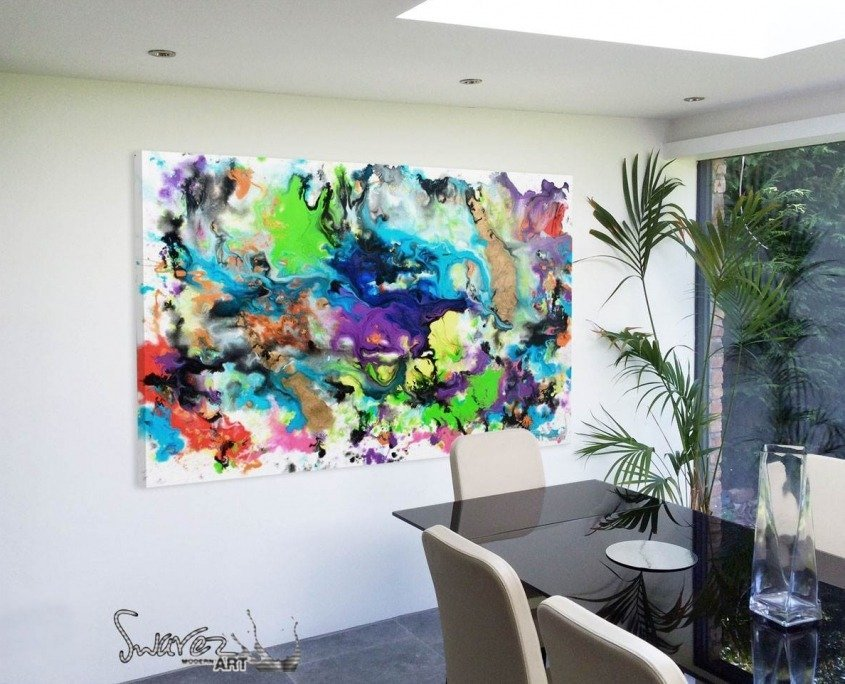 Multi coloured abstract art in dining room
