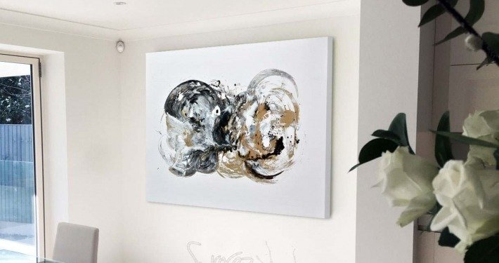 black and gold abstract art painting