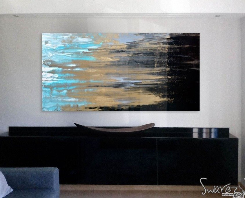 Black and gold painting above console table