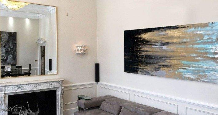 Blue and gold modern art