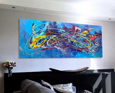 Swirling blue modern art painting