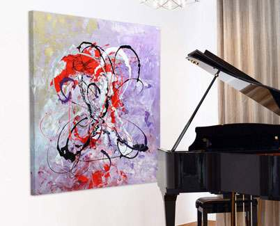 Red-and-purple-art-by-a-piano