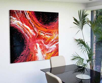 Red-orange-and-black-art-in-dining-room