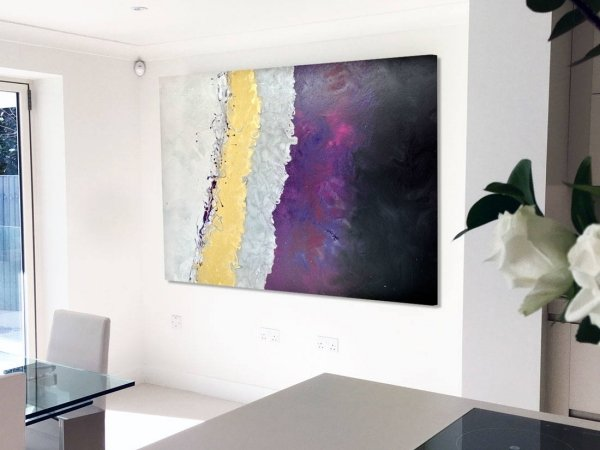 purple art in a dining room