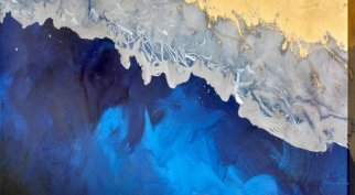 blue and gold paint on canvas