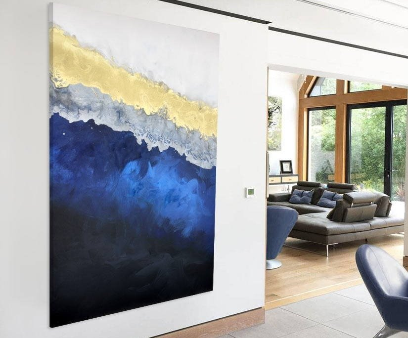 blue gold art work in a modern living space